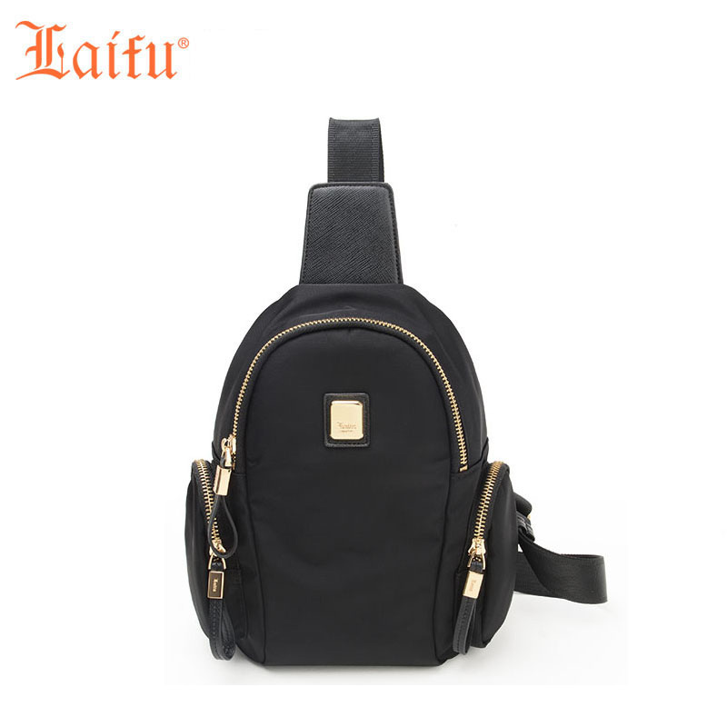 Laifu Women Chest Bag Travel Casual Shoulder Bag Nylon Waterproof Lightweight Durable, Black/Purple