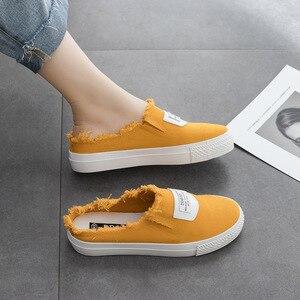 Image 2 - Femmes vulcaniser chaussures été nouvelle mode femmes pantoufles toile chaussures chaussures plates décontractées couleur unie décontracté décontracté mode baskets