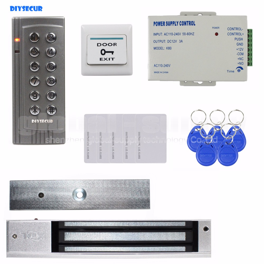 DIYSECUR DIY RFID 125KHz Reader Password Keypad Access Control System Security Kit + Electric Magnetic Door Lock K4 diysecur touch panel rfid reader password keypad door access control security system kit 180kg 350lb magnetic lock 8000 users