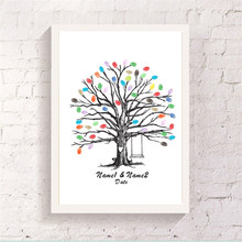 Delicate Tree With Swing Friend Fingerprint Signature Book Canvas Customized Guest Attendance Unique Wedding Art Poster Souvenir(China)