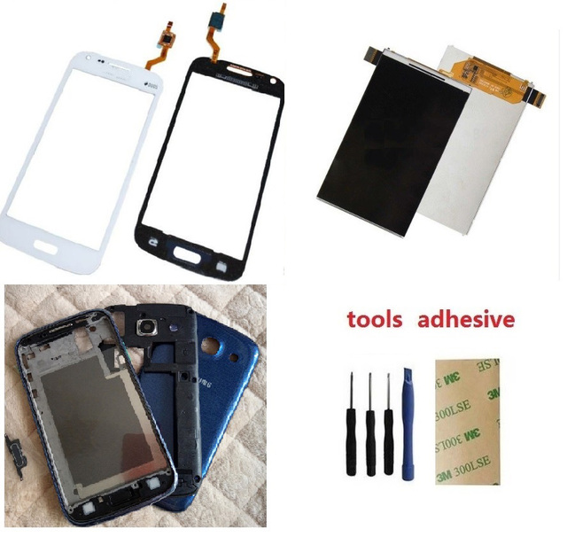 Para samsung galaxy core i8260 i8262 touch digitador de vidro sensor + tela lcd + quadro chassis + tampa da bateria + adesivo + kits