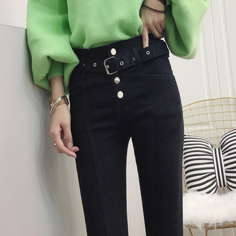 New belt double breasted cultivate morality   fund of 2018 autumn winters is tall waist height black pencil pants