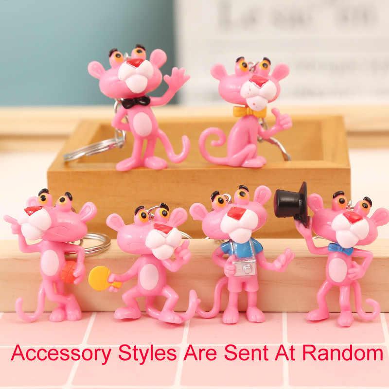 Kartun Lucu Merah Muda Panther Gantungan Kunci Pom Avengers Gantungan Kunci Perhiasan Bulu Bola Gantungan Kunci Fluffy Gantungan Kunci untuk Wanita Tas cincin