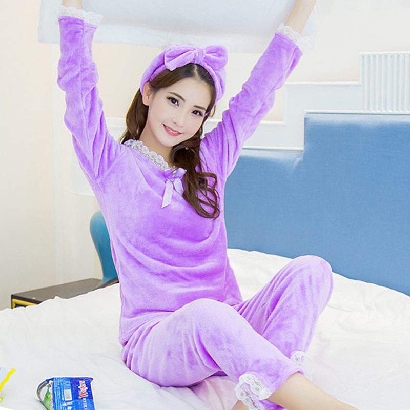 7fc83a37d117 Autumn Winter Women Pajamas Sets Long Sleeve Warm Headband Pajamas suit  purple cute Lace Pijamas Mujer casual home Sleepwear set