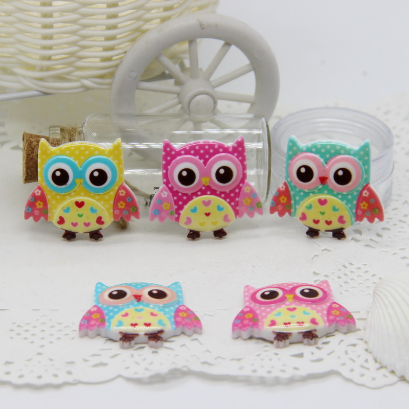 New Arrival 30pcs 30*34mm Mix Color Resin Flatback Cabochon Cute Cartoon Owl Design For DIY Hair Bows Accessories 210354