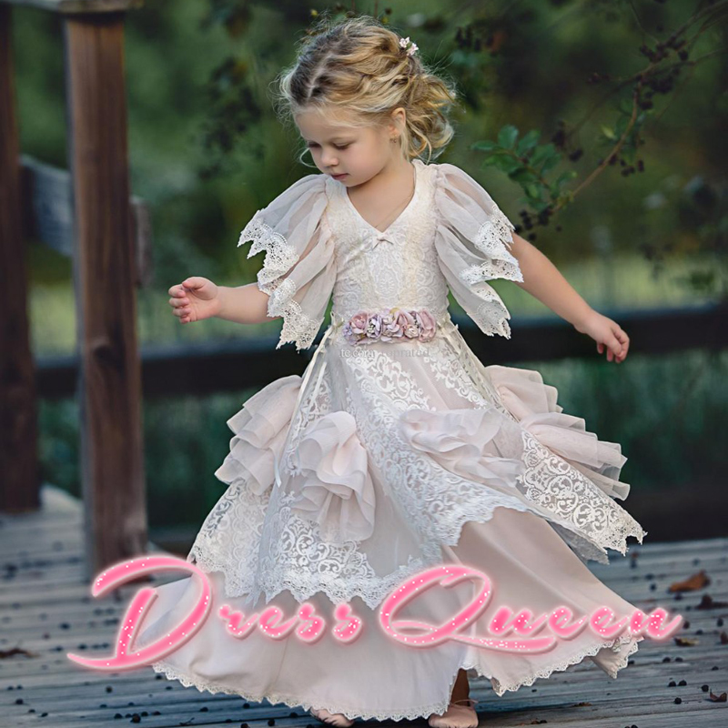 2017 New Flower Girls Dresses for Weddings A-Line Short Sleeves Appliques O-neck First Communion Pageant Gowns Vestidos Longo blue pageant dresses for little girls a line spaghetti straps solid appliques crystal lace up flower girl first communion gowns