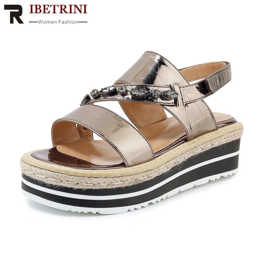 RIBETRINI2019 New Crystal Genuine Leather Shoes Sandals Woman Summer Flat Platform Woman Casual Beach Shoes Woman Size 34-39RIBETRINI2019 New Crystal Genuine Leather Shoes Sandals Woman Summer Flat Platform Woman Casual Beach Shoes Woman Size 34-39