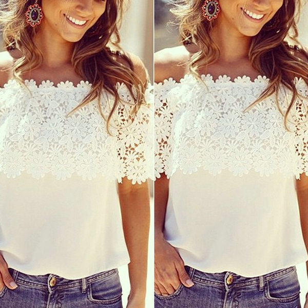 Hot Fashion Women Summer Lace Crochet Off Shoulder Chiffon   Shirt   Casual Tops   Blouse