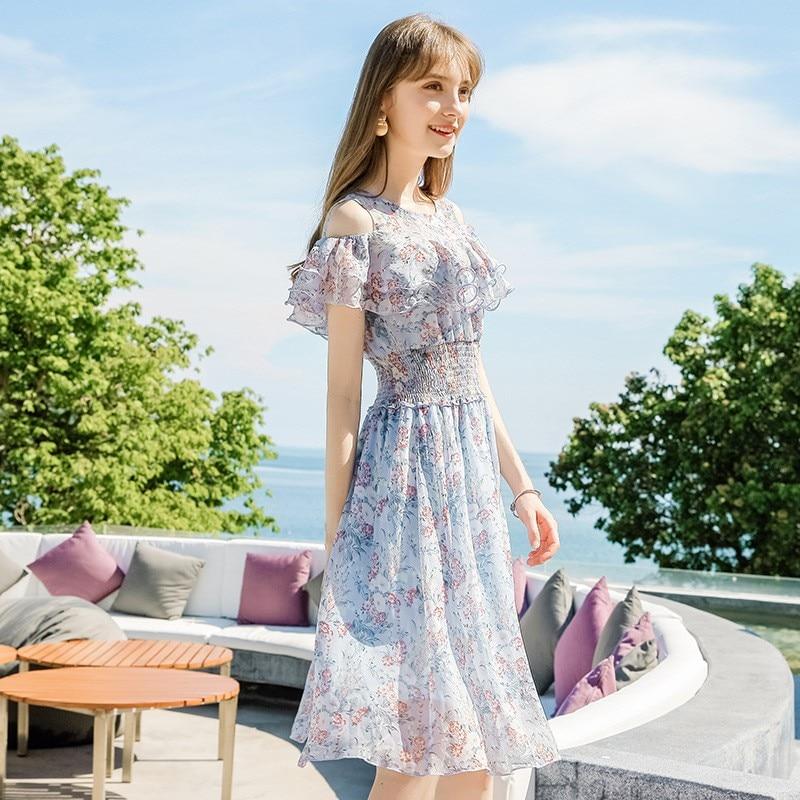 2019 été nouvelle marque femmes lotus feuille manches robe impression a-ligne tempérament dames lisse doux o-cou en mousseline de soie robe 69263