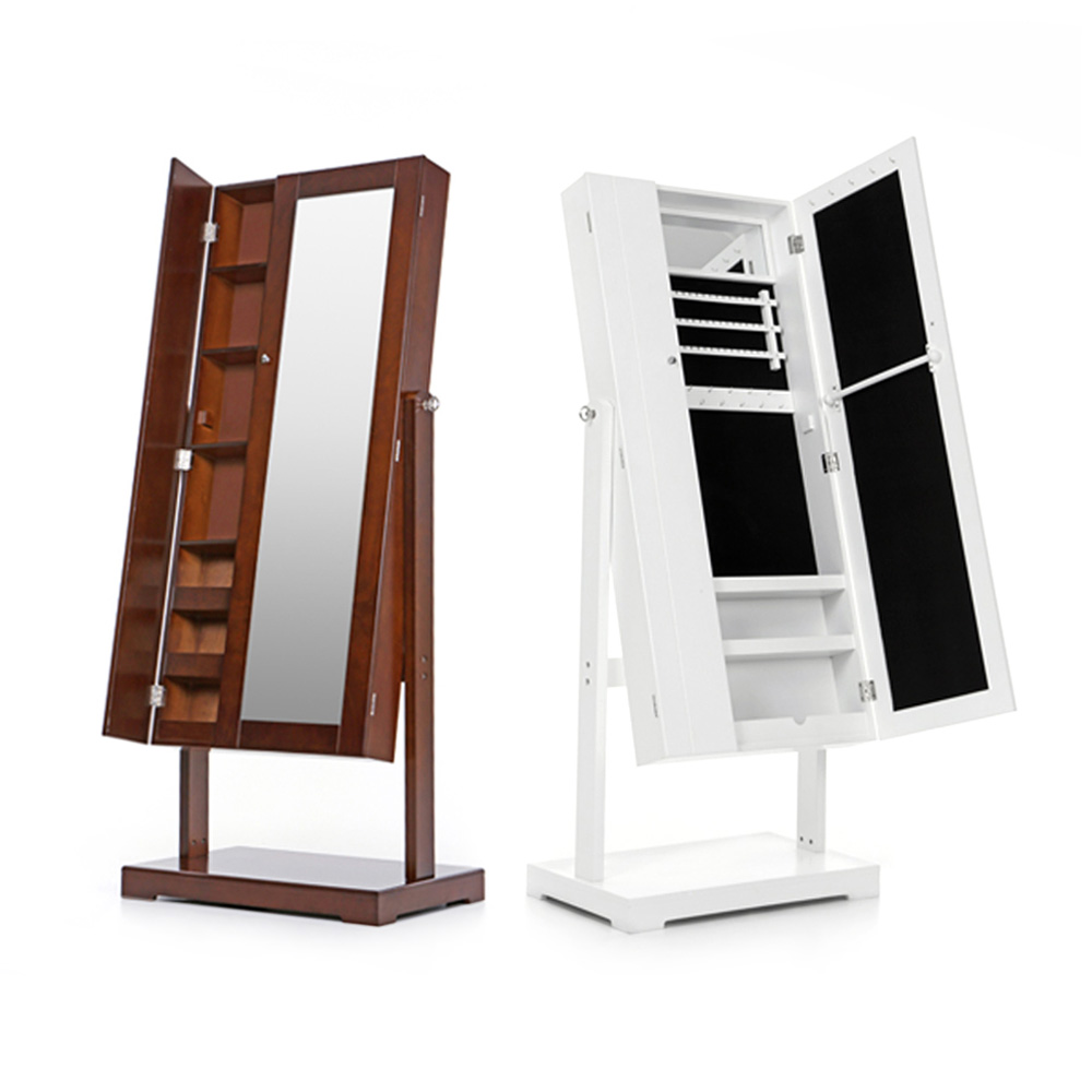 Full height mirrored cabinet another play on the rotating cabinet - Ikayaa Us Uk Fr Stock Jewelry Cabinet Armoire Tilt Adjustable Jewelry Storage Box Organizer With Dressing