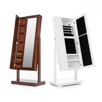 iKayaa US UK FR Stock Jewelry Cabinet Armoire Tilt Adjustable Jewelry Storage Box Organizer with Dressing Mirror