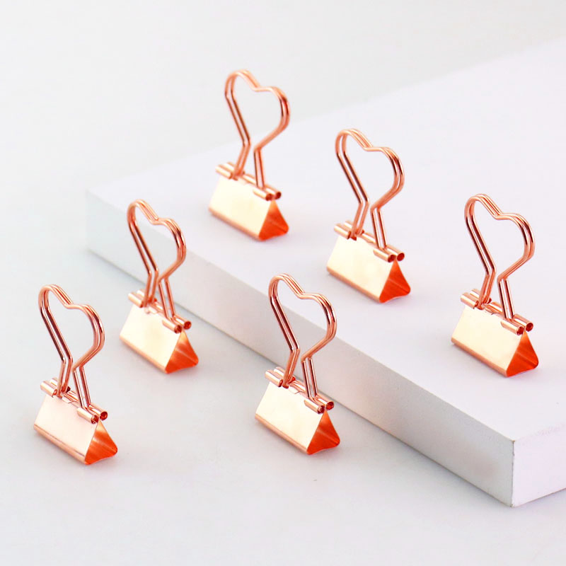 TUTU 12pcs/lot Solid Color Rose Gold Metal Binder Clips Notes Letter Heart Shape Paper Clip Office Supplies H0026