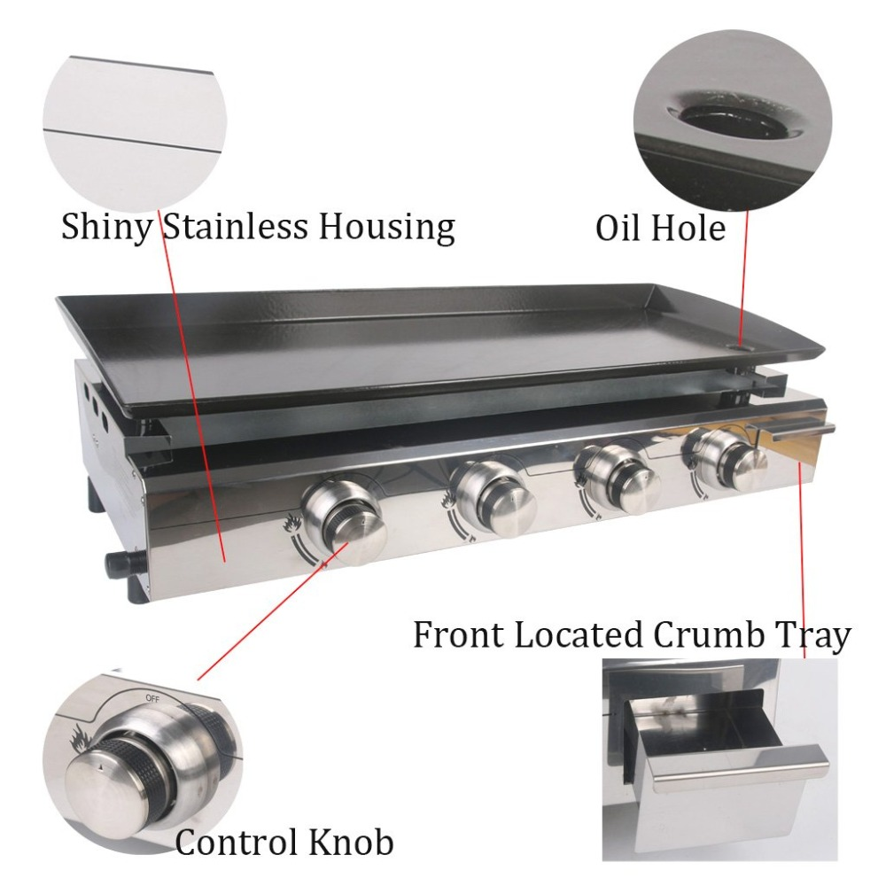 ITOP 4 Burners Stainless Steel Gas BBQ Grills LPG Gas Griddle Plancha Barbecue Grills For Outdoor Camping Barbecue Tools in Food Processors from Home Appliances