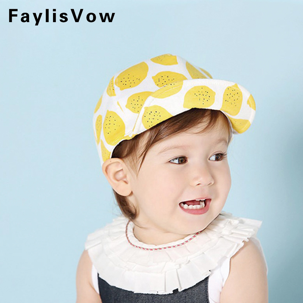 Baby Cotton Hat Kids Lemon Pattern Baseball Cap Newborn ...