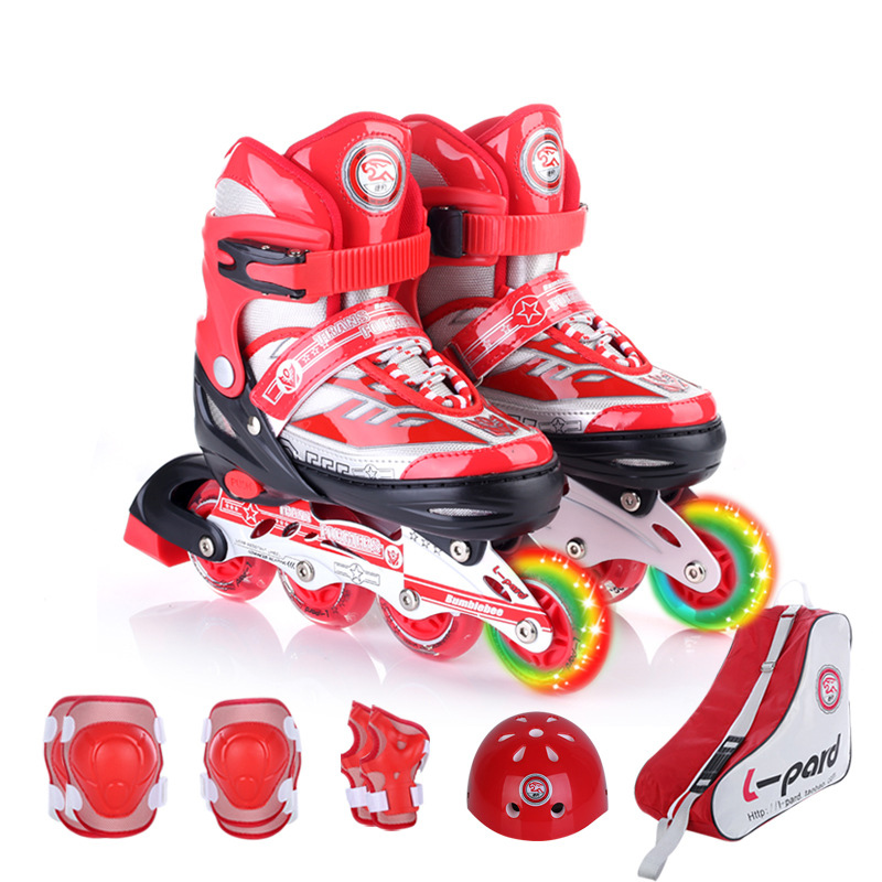 1 Set NEW Cool Children Inline Skate Roller Skating Shoes Helmet Knee Protector Gear Adjustable Washable Hard Wheels Teenagers 7pcs xiaomi skating cycling helmet knee pads elbow wrist brace set