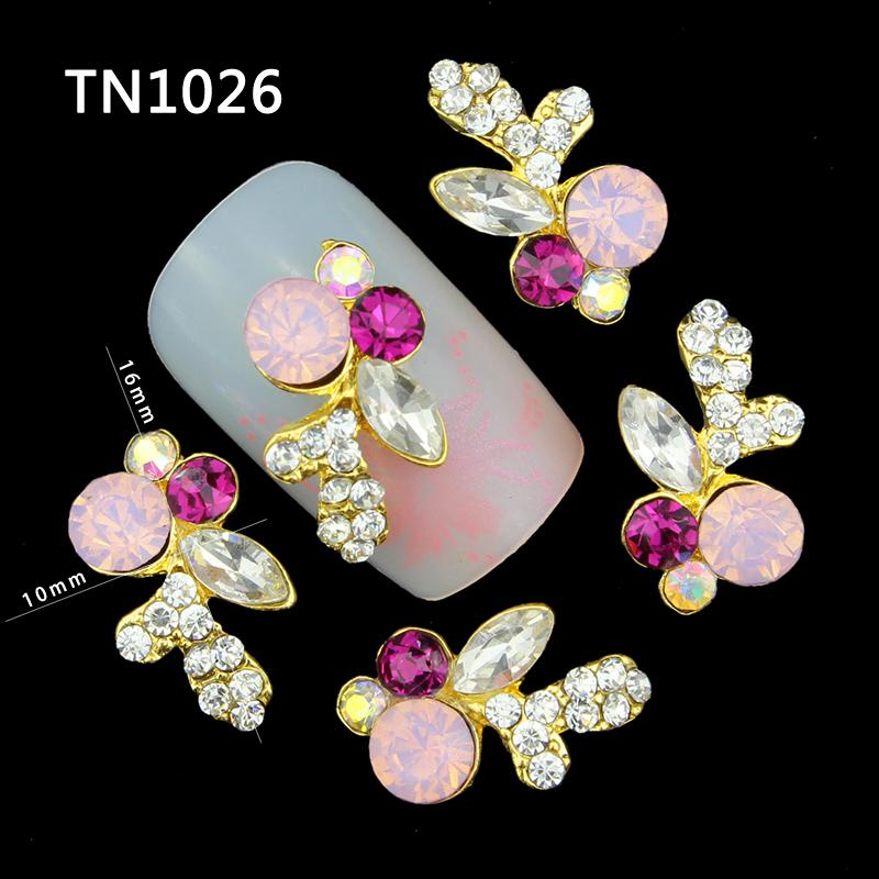 Blueness 10PcsPack Whole Golden Pink Red Butterfly Rhinestone 3D Nail Art Decorations DIY Alloy Nails Tools Top Nail TN1026