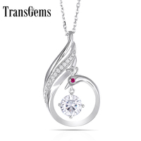 TransGems Solid 14K 585 Whtie Gold 1 Carat F Color Moissanite Slid Pendant Phoenix with Moissanite and Ruby Accents for Women