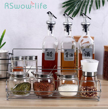 10Pcs Kitchen Supplies Spice Storage Glass Cruet Set Suit Seasoning Cans + Rack Jar For Gadgets