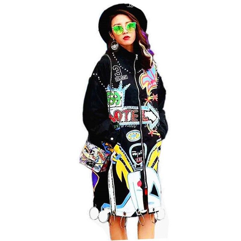 2017 جديد وصول المتضخم فاسق سترة ربيع المرأة طويلة طباعة معطف أسود الجيش الأخضر-في معطف مبطن من ملابس نسائية على  مجموعة 1