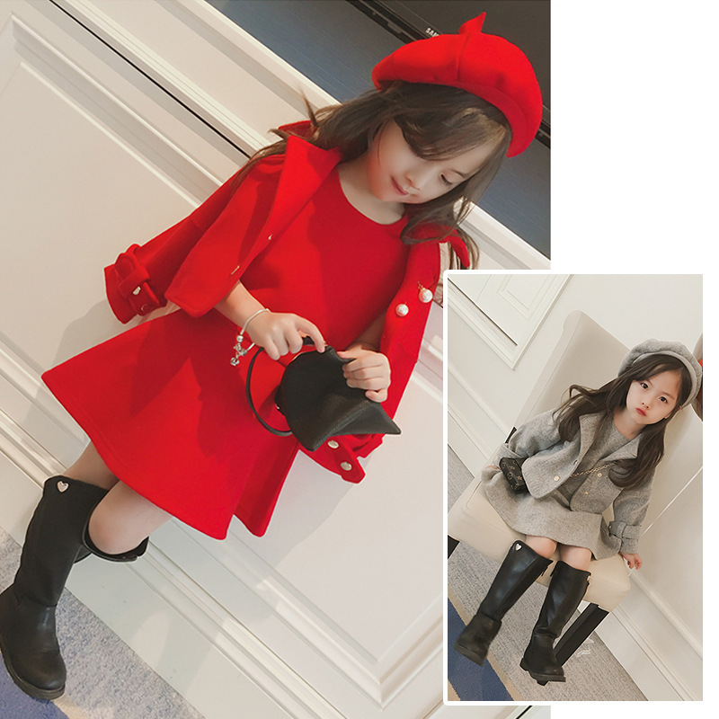 Children's clothes 2018 spring and winter style infant baby kids clothing sets girls wool coat and dress and hat 3pieces jackets