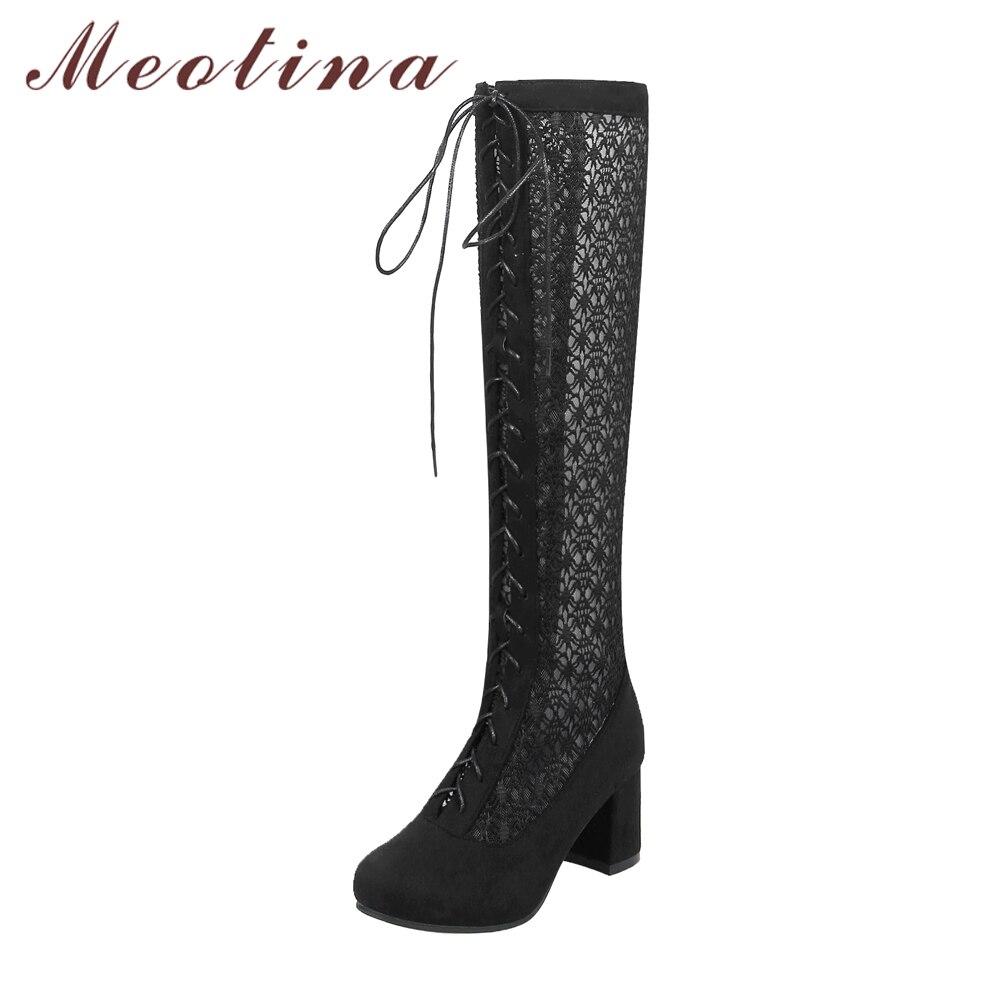 Meotina/Сапоги до колена на высоком каблуке Осенняя обувь на шнуровке сетки на устойчивом каблуке женские ботинки с высоким голенищем черный, б...
