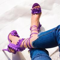 Hot Selling Purple Suede Ruffles Ladies Sandals Cut out Peep Toe Lace up Gladiator Sandals Women High Heel Banquet Shoes
