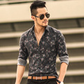 Camisa dos homens camisas de impressão floral camisas de manga longa homens roupas flores impresso vintage de linho casual homens da camisa 2016 nova primavera