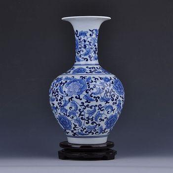 King of Connaught Jingdezhen ceramics hand-painted antique blue bottle classical modern handicraft decoration decoration Home Fu