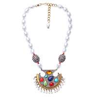 Multi Color Short Beads Chain Geometric Pendant Necklace From Indian Luxury Simulated Pearls Jewelry