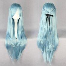 MCOSER High Quality 85cm Long Blue Anime Sword Art Online Asuna Yuuki Cosplay Wig