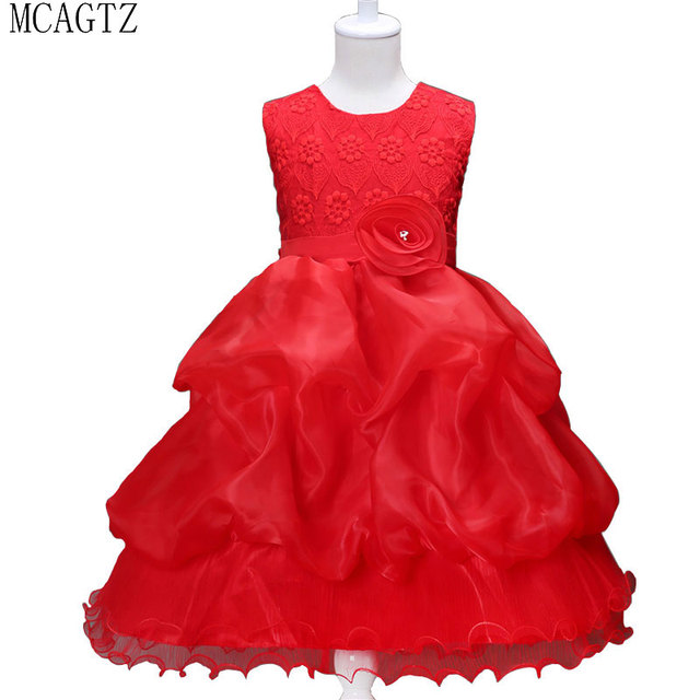 ce4f7249dc9 MCAGTZ Red Children Clothing Girl Christmas Costume Dresses For Girls  Birthday Outfits Teenager Girl Kids Ball Party Wear   020