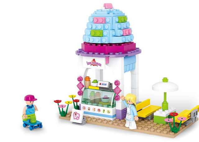 BOHS Building Blocks Dream Series 0525 Ice Cream olivias House Cart  Children Toy Brinquedos