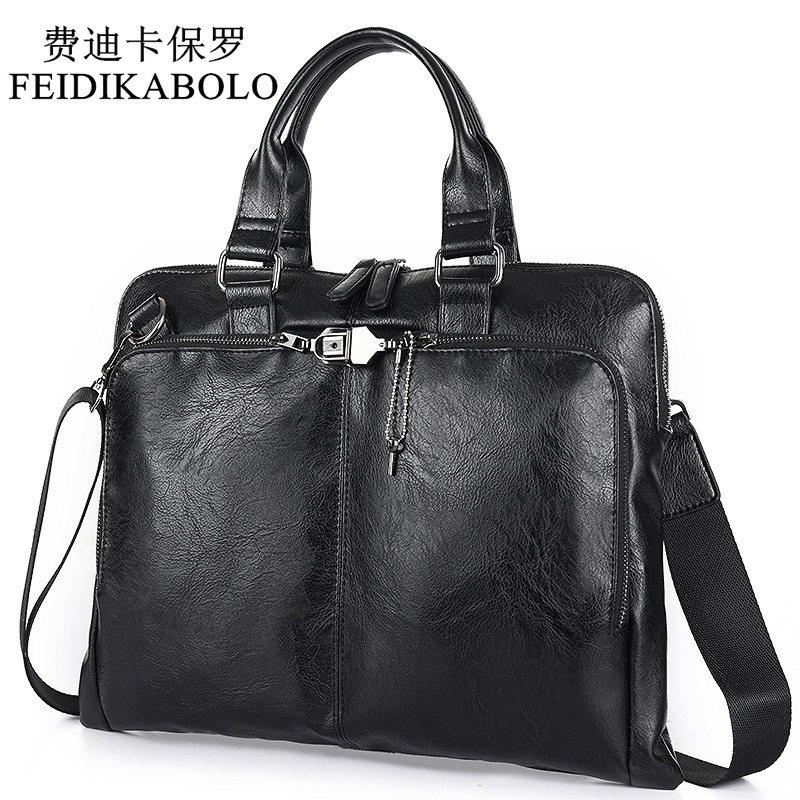 BOLO Business Briefcase Kulit Lelaki Bag Komputer Laptop Handbag Man Bahu Bag Messenger Bags Lelaki Travel Bags Black Brown