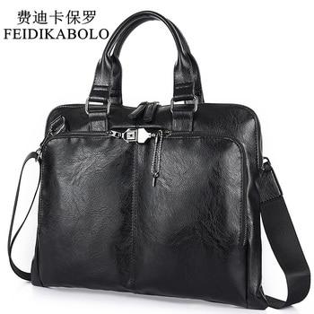 BOLO Business Briefcase Leather Men Bag Computer Laptop Handbag Man Shoulder Bag Messenger Bags Men's Travel Bags Black Brown