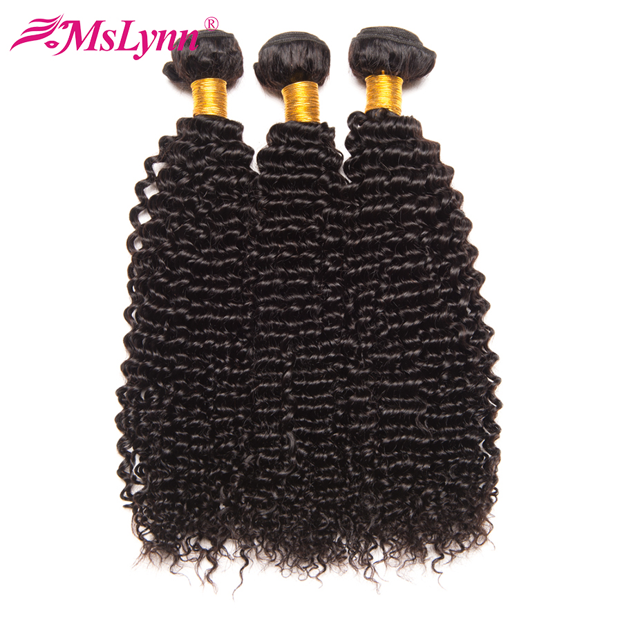 Mslynn Afro Kinky Curly Hair 3 Bundles Deal Brazilian Hair Weave Bundles 100% Human Hair Extensions Non Remy Hair Nature Color