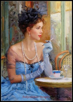 Needlework for embroidery DIY DMC High Quality - Counted Cross Stitch Kits 14 Oil painting - Beauty in the Cafe