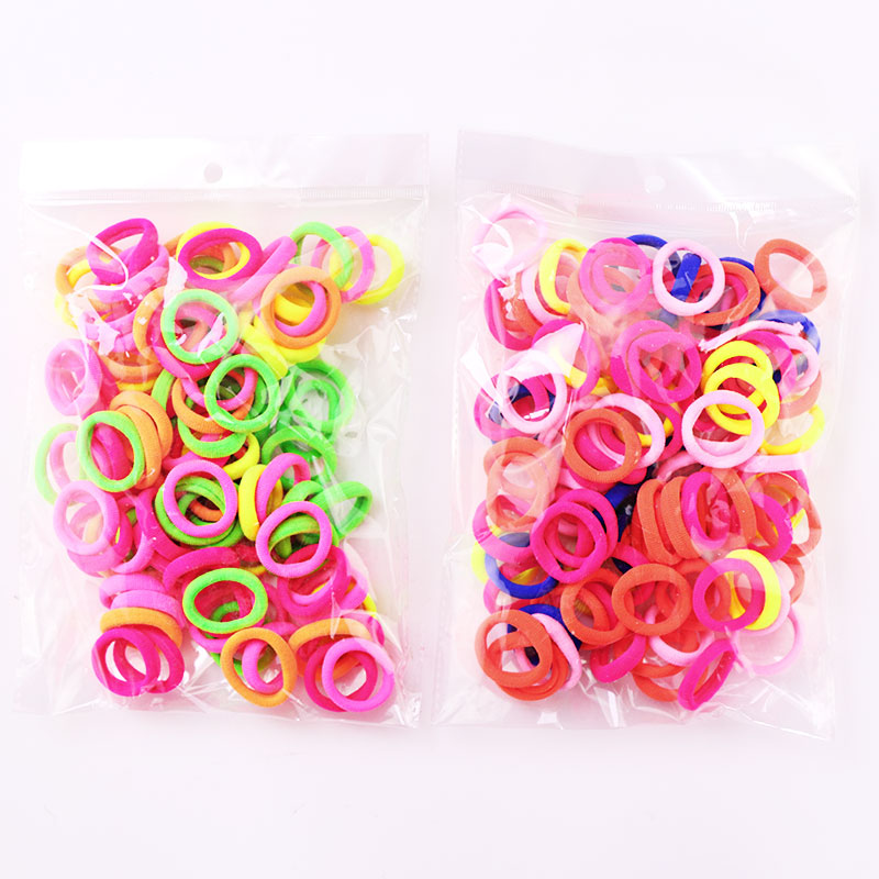цены 100PCS 2.5CM Baby Girls Cute Ring Colorful Elastic Rubber Bands Kids Tie Gum For Hair Headbands Children Hair Bands Accessories