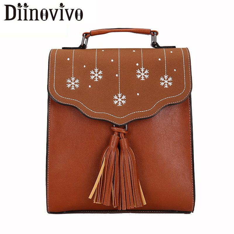 Diinovivo Snowflake Design Crossbody Bag Female Fashion Travel Shoulder Bag Packbag Girls PU Leather Backpack For Women LBF212 цена