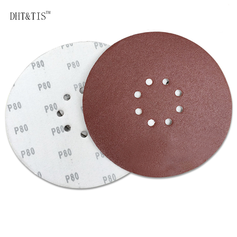 DHT TIS 100 pieces 9 225mm Hook Loop Abrasive Sanding Disc Wall Wood Grinding P60 P80