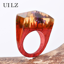 UILZ Brand Jewelry Real Purple Flower Wooden Resin Rings Vintage Handmade Ring Fashion Women Anel BWRP001