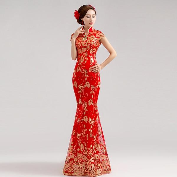 2015 hot sale long cheongsam red chinese traditional dress chinese style wedding  dresses sexy qipao formal dress custom made 26febf147146