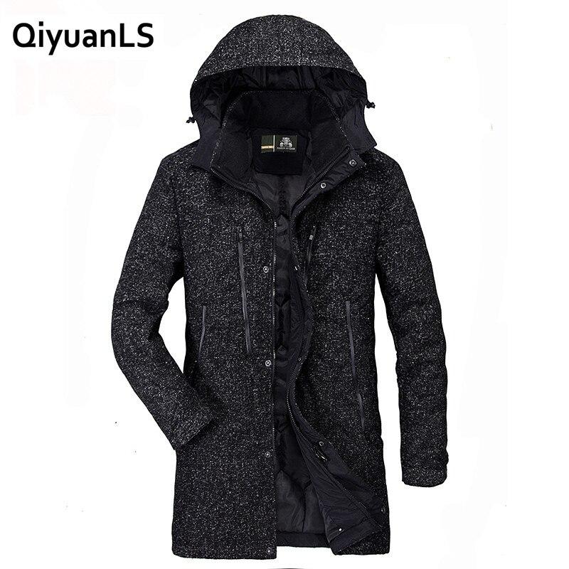 QiyuanLS Men s Winter Jackets Parka Thick Warm Fashion Casual Stand Collar Military Man Jacket Long