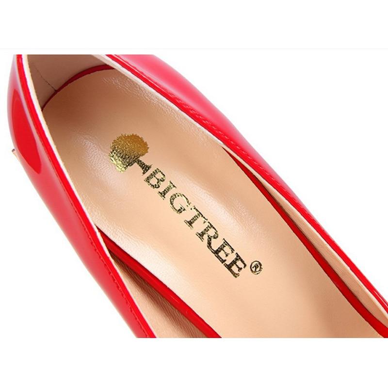 Noir Haute Parti Mode Mariage Pompe or café Rouge Pompes Cuir Classique argent 2019 Sexy Verni Nouveau Femmes rouge rose Chaussures De Printemps blanc En Talons rose Bigtree 56aUqU