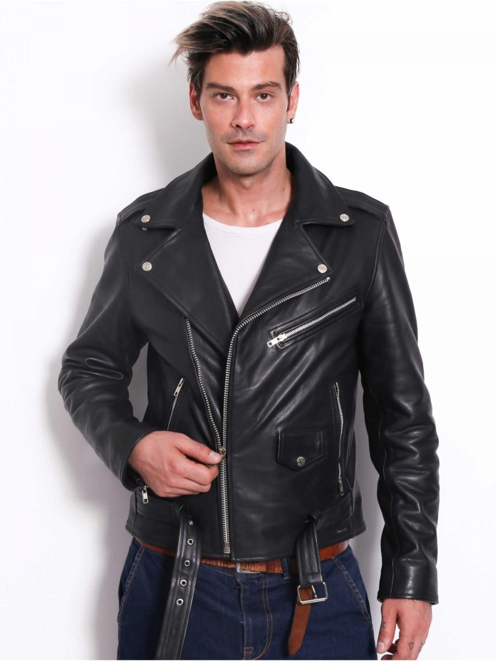 Mens Genuine Cowhide Premium Leather Motorcycle Biker Top Leather Jacket Black