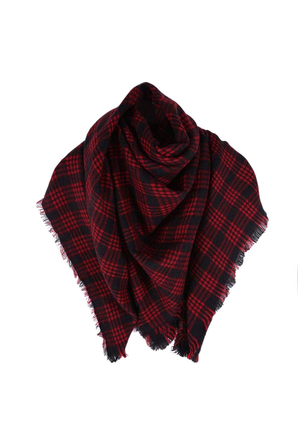 SAF-Wool Blend Tartan Plaid Soft   Scarf     Wrap   Shawl Blanket Stole Pashmina Red+Black