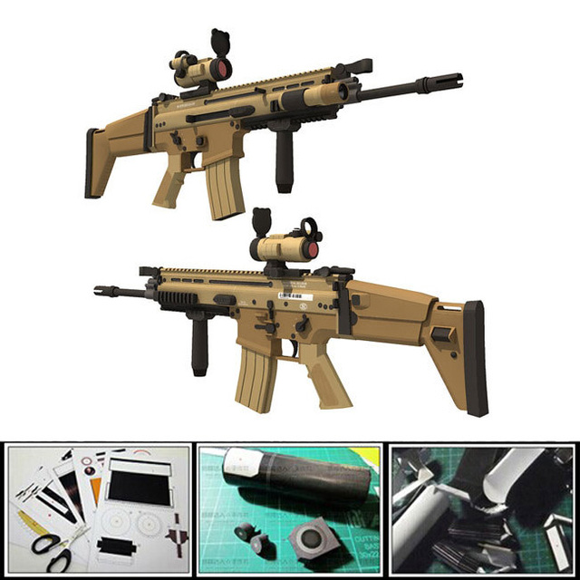 Free shipment New 2016 classic weapon Gun paper model 1:1 scale US FN SCAR-L Assault Sniper Rifle 3d diy puzzles weapon models