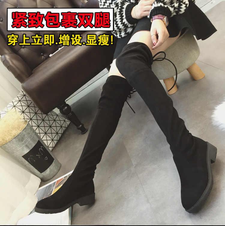 2018 ใหม่ผู้หญิงรองเท้าสแควร์รองเท้าส้นสูงผู้หญิงเข่าบูทสีดำ Pointed Toe ผู้หญิงรองเท้าสีดำขนาด 35-41