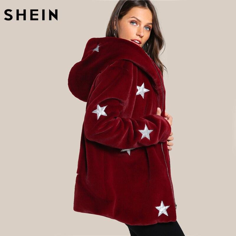 SHEIN Estrela Impressão da Pele Do Falso Com Capuz Casaco de Outono Inverno Outerwear Mulheres Borgonha Manga Comprida Zipper Casaco Com Capuz Casuais