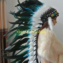 36 дюймов полный высокий Бирюзовый перо головной убор ручной работы костюмы с перьями перо головной убор перо шляпа