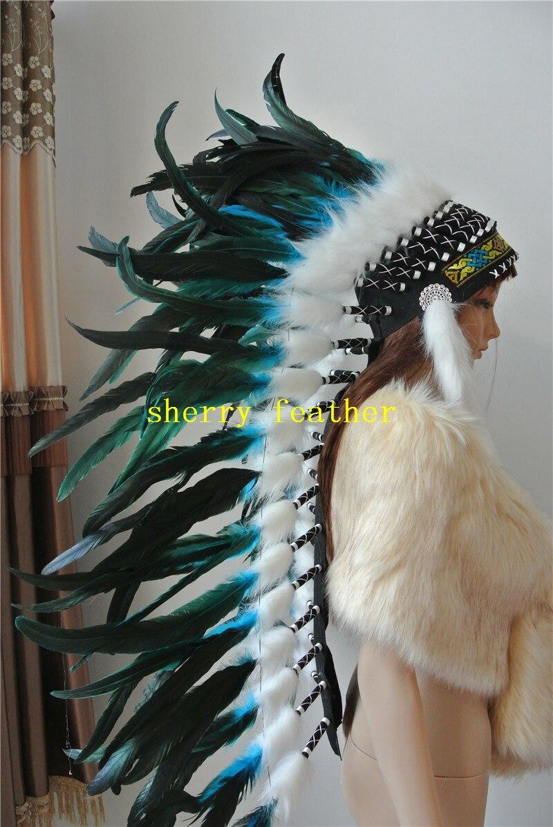 36 cal pełna wysokiej turkusowy ozdoba na głowę z piór ręcznie robione stroje z piór pióro chluba kapelusz z piór w Pióro od Dom i ogród na  Grupa 1